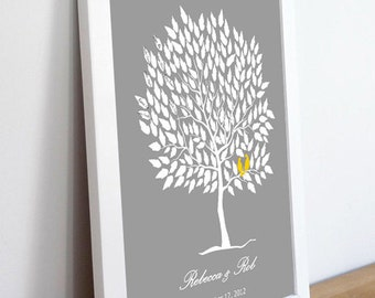 Wedding Guestbook Alternative--  To Be Personalized With Guest's Signatures - 20x30 - 250 Signature Wedding Guest Book tree