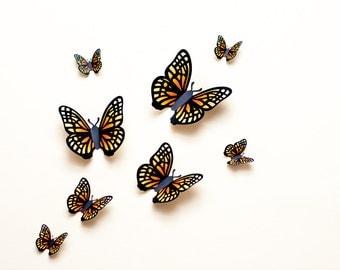 3D wall butterflies: yellow & orange paper butterfly wall art, dorm decor