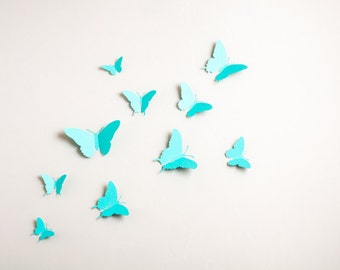 3D Wall Butterflies: 3D Butterfly Wall Art for Nursery, Girl's Room in Robin's Egg Blue