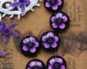 10pcs 12mm Handmade Photo Round Glass Cabochon -Image Glass Cabochon-( Flower )-(HPGC-1424)