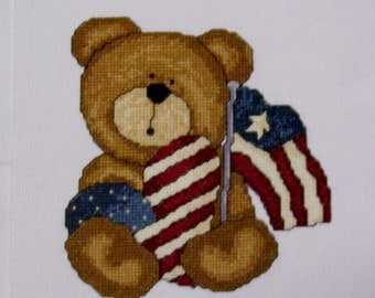 Patriotic Teddy Bear Completed Cross Stitch with Heart and Flag - 4th of July Cross Stitch, Finished Cross Stitch, Patriotic Cross Stitch