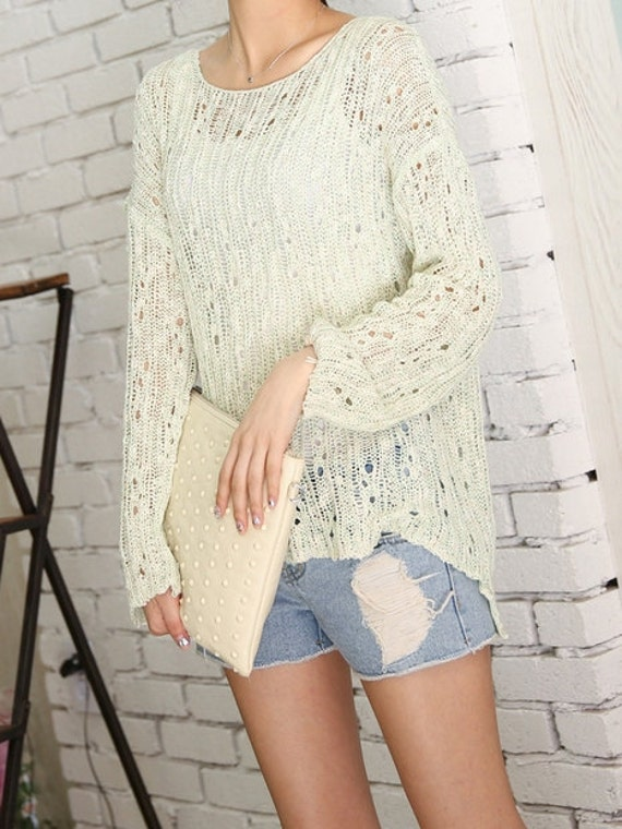 a017861843d7 Green Vintage Net sweater summer sweater knit sweater womens sweater knitted   summer loose sweater grunge style  Perfect for sunny days