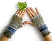 Fingerless gloves mittens in grey and blue, Elegant fingerless glove, knit fingerless glove, fingerless arm warmer, unisex fingerless gloves