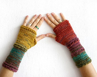 Fingerless gloves set in harvest colors, Fingerless gloves mittens, fingerless gloves woman, gloves man, fingerless gloves knit, Christmas