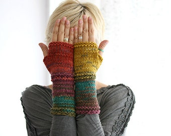 Knit Fingerless gloves in harvest colors, Unique fingerless gloves, Fingerless gloves mittens, Arm Warmers,  CHRISTMAS Gift for her