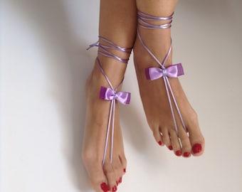 Lilac barefoot sandles, ribbon , wedding ,Bikini , Women , Beach , Bridal Sandals , Bridal Jewelry ,shoes , READY TO SHIP