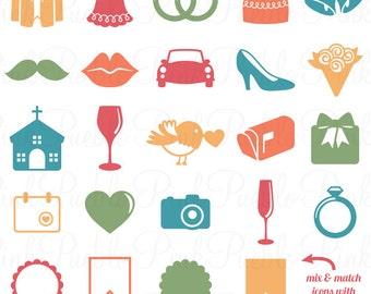 Wedding Icons Photoshop Brushes, Bridal or Wedding Invitation Icon Brush - Commercial and Personal Use