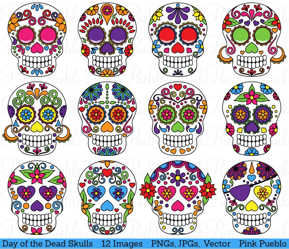 Day Of The Dead Skull Clipart Clip Art Sugar Skulls Clipart