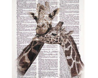 Giraffe Couple Print on a Vintage Dictionary Page