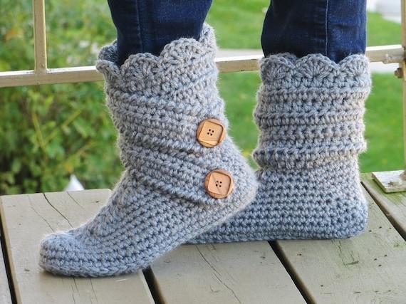 Crochet Patrón de zapatillas de mujer botas por CrochetBabyBoutique