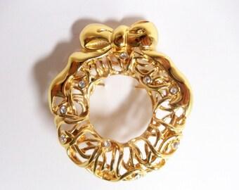 Filigree Wreath Brooch- Monet- 1980- Austrian Crystals- Vintage Jewelry