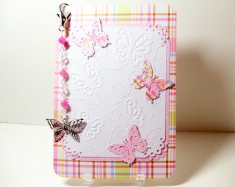 Butterfly Card-  Zipper Pull Gift Set- Embossed- Lined-  Handmade- Dragon Veins Pink Agate- Bag Tag