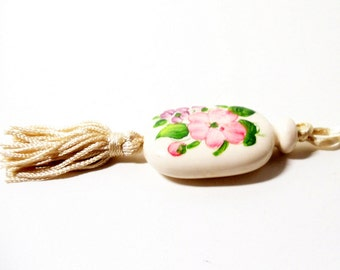 Avon Pendant- Tender Blossoms Pendant- 1977 Necklace- Handpainted Pendant- Ceramic Pendant- Tassel Necklace- Vintage Avon-Silk Cord Necklace