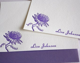 Personalized Letterpress Stationery Passion Fruit  Lilikoi Blossom Card Set Purple