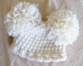 Double Pom Pom Hat - Baby Girl Hat - Baby Hats - Wool Pom Pom Girl Hat - by JoJo's Bootique