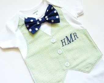 Personalized Monogramed Green Seersucker Tuxedo Bodysuit Vest with Removable Matching Bow Tie