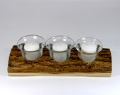 Rustic Votive Candle Holder - Bark Plank with Candles and Clear Candle Holders
