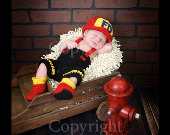 Baby Fireman Hat, Pants with Suspenders and Boots , Baby Fireman set, Newborn Fireman set, Newborn Firefighter Set PHOTO PROP