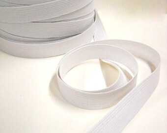 """Flat White Elastic, 1"""" Wide, Sewing Notions, 10 yds Poly Elastic, Made in the US"""