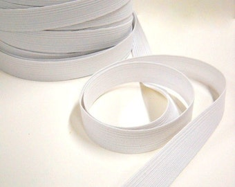 """Flat White Elastic, 1"""" Wide, Sewing Notions, 10 yds Poly Elastic, Made in the USA, elas004/10"""