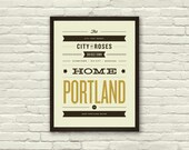 PORTLAND, Oregon City Poster - 11 x14 Typography Art Print, Monikers and Mottos, Modern Poster, Retro Home, Nursery, Vintage, Mid Century