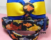 Dog Collar Gone Fishing w Ribbon Bow Tie Holiday Vacation Trout Bass Sports Fishing Adjustable Collars w  D Ring Choose Size Pet Pets New