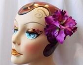 Purple Hawaiian Tiki Trio Orchid Flower Hair Clip, Rockabilly Pinup Hair Accessories, Pin Up Tiki Hair Flowers