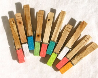 10 GLITTER CLOTHESPINS hand painted magnetic clothespins neon color blocked glitter