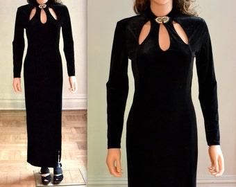 90s Vintage Black Velvet Dress Size Small// Vintage Black Evening Gown Cut outs Size Small Medium