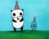 Panda Painting, Kids Wall Art, Nursery Decor, Artwork for Children, Original Painting, Birthday Celebration, Blue Bird