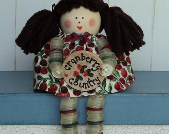 Cranberry Button Doll