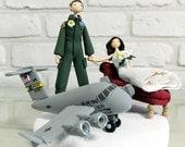 Custom Wedding Cake Topper, An Air Force Pilot wedding cake topper, a troop transport plane topper, fun cake topper