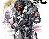 8x10 PRINT Mass Effect Urdnot Grunt Japanese Calligraphy PURE