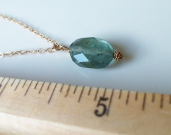Moss Aquamarine Gemstone Nugget Wire Wrapped Pendant/Solitaire with 14kt Gold Fill