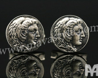 Sterling Silver Alexander the Great Coin Replica Cufflinks