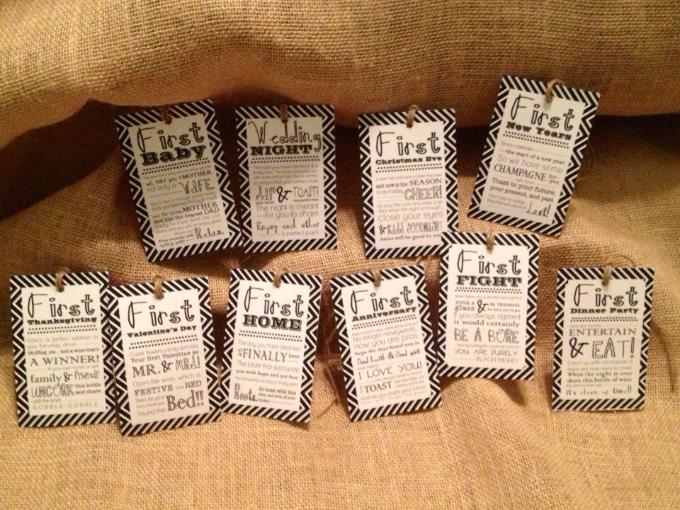 Wine Gifts For Wedding: Set Of 10 Bridal Shower Wine Basket Gift Tags Chevron