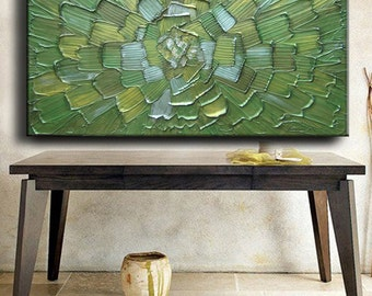 56 x 30 Custom Original Abstract Heavy Texture Green Olive Gold Sage Ivory Modern Oil Painting by Je Hlobik