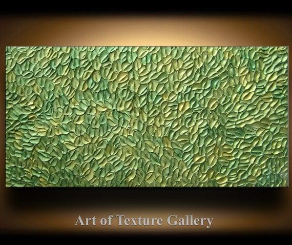 Abstract Texture Painting 48 x 24 Original Modern Green Sage Metallic Knife Sculpture Impasto Oil by Je Hlobik