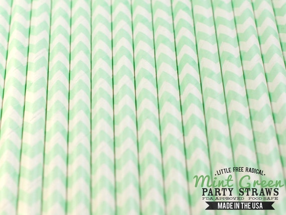 MINT GREEN CHEVRON Eco-friendly Paper Party Straws & Digital Flags- - -Made in the U S A- - -Fda approved - - - Ships within 1 Business Da