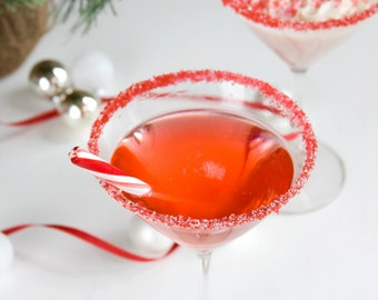 Candy Cane Flavored Cocktail Sugar - peppermint flavored rimming sugar for Christmas party drinks, holiday cocktails, flavored hot chocolate