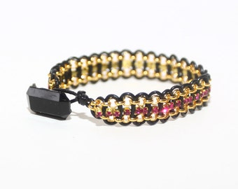 Leather and Chain Bracelet Black and Pink