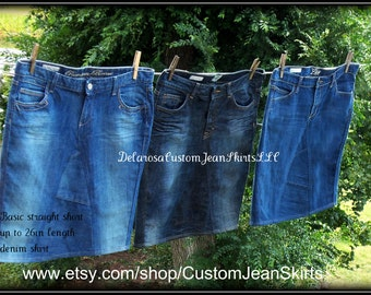 DELAROSA Custom to your size short Jean Skirt modest below the knee size 0 2 4 6 8 10 12 14 16 18 20 22 24 26
