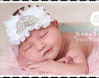 Baby Headband, White Headband,Christening Headband, Baptism Headband,Newborn Headband,Baby girl Headband,Baby Princess Tiara Headband.