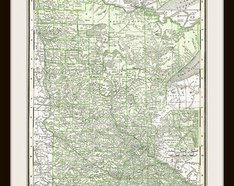 1911 Antique Map - MINNESOTA  - DIGITAL DOWNLOAD Printable - for Papercrafts, Transfers, Pillows, Scrapbooks, and more.