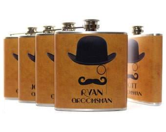 Personalized Wedding Favor Gentlemen Mustache Man Flasks for Groomsmen Best Man Ushers