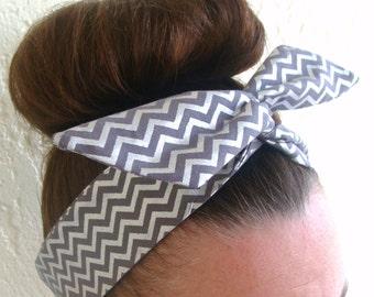 Dolly Bow, Silver Grey Chevron, Wire Headband 50s Hair Accessory Pinup Hair accessory Teen Woman Girl Hair Accessory