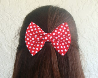 Hair Bow Red Hair Bow Lorettajos Red with White Polka Dots Clip Rockabilly Pin up Teen Woman Alligator Clip or French Barrette