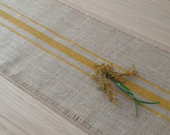 Rustic Farmhouse Striped Burlap Table Runner 12x84 Cottage, Lakehouse Goldenrod Hand Painted Burlap Home Decor