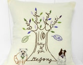 Personalized Family Tree with PETS. Pet Portrait Pillow Cover. Father's Birthday Gift. Mom Birthday. Anniversary Gift for Parents. Pet Decor