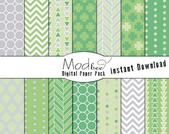 """Digital Paper 14 PACK - St. Patrick's Day Bright Green and Grey (300 dpi) -- 14 designs - 12"""" by 12"""" Instant Download (056)"""